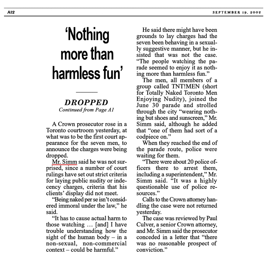 National Post 2002-09-19 p.A12 (continued from p.A1) - Simm convinces Crown to drop charges pt2